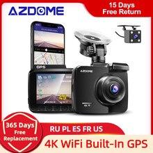 AZDOME GS63H kamera na deskę rozdzielczą podwójny obiektyw 4K UHD nagrywania kamera samochodowa DVR Night Vision WDR wbudowany GPS bezprzewodowy dostęp do internetu G-czujnik ruchu wykrywania