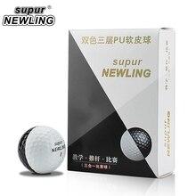 Süper Uzun Mesafe 6 adet/kutu Golf Oyunu Topları Üç Kat PU Topları için Fit atıcılar Renk Siyah Beyaz