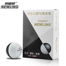 Super Long ระยะทาง 6 ชิ้น/กล่องกอล์ฟลูกสามชั้น PU ลูกบอล Fit สำหรับพัตเตอร์สีดำสีขาว
