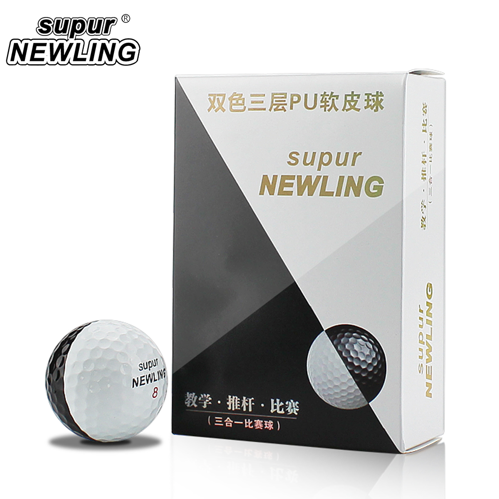 Super Long Distance 6 Pcs / Box Golf Game Balls Three Layers PU Balls Fit For Putters Color Black White