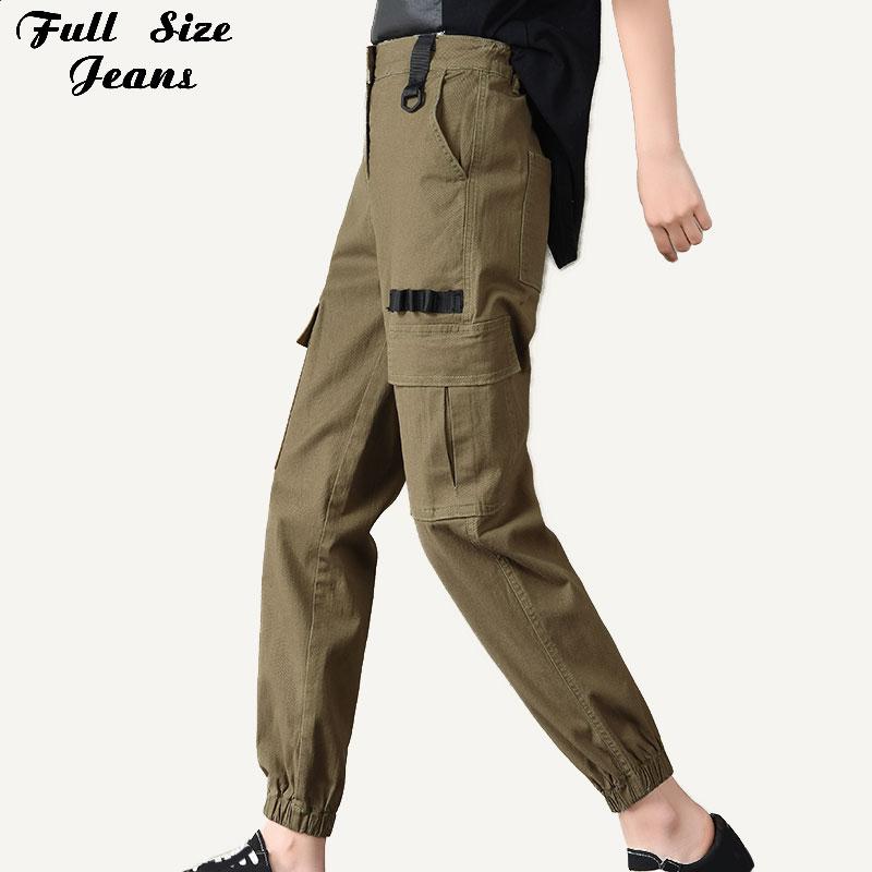 Spring Streetwear Boyfriend Extra Long Tactical Cargo Denim Pants 5XL Women Harajuku Bf Loose Big Pocket Harem Jeans Mom Female