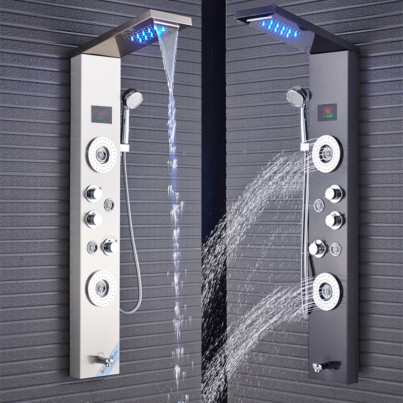H6d96a01a58474544b612d8642739d9afb Newly Luxury Black/Brushed Bathroom Shower Faucet LED Shower Panel Column Bathtub Mixer Tap With Hand Shower Temperature Screen