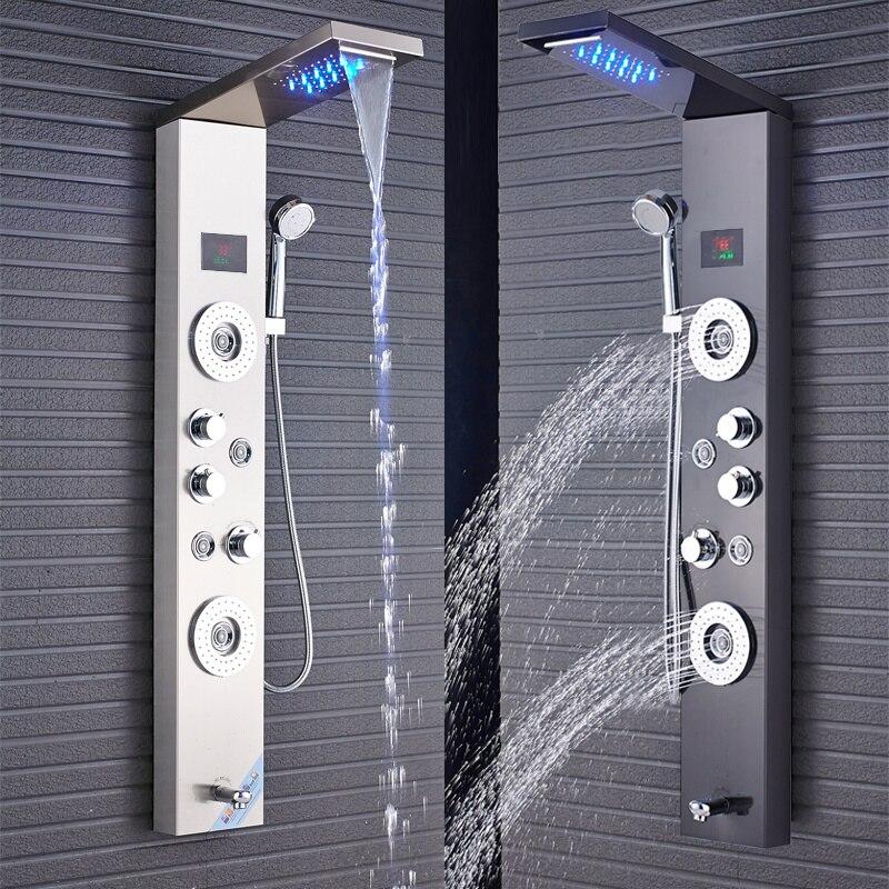 Newly Luxury Black Brushed Bathroom Shower Faucet LED Shower Panel Column Bathtub Mixer Tap With Hand Newly Luxury Black/Brushed Bathroom Shower Faucet LED Shower Panel Column Bathtub Mixer Tap With Hand Shower Temperature Screen