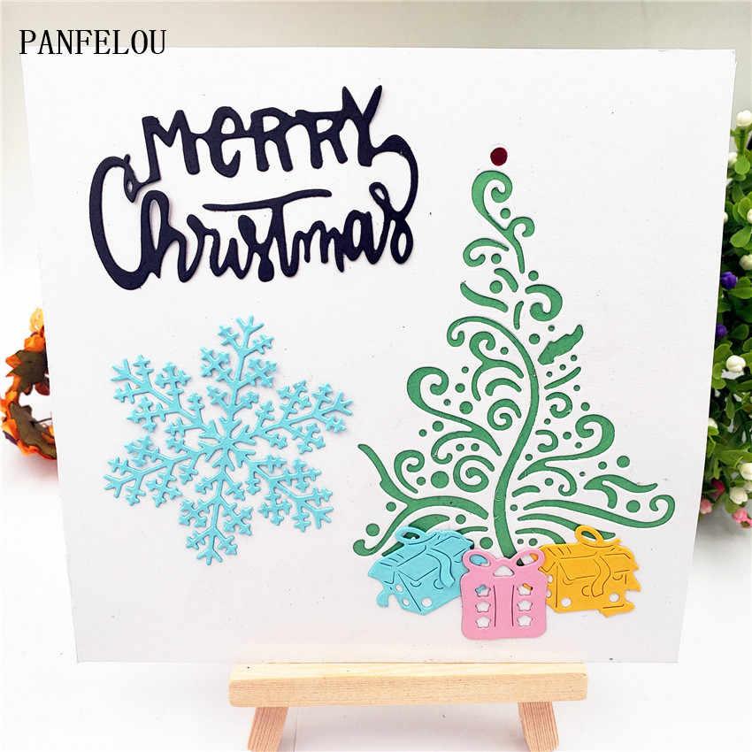 8.2x11 ซม.Christmas Happy New Year Snow Pine เหล็กคาร์บอนกระดาษตัดตายตัด Dies Scrapbooking/DIY บัตรลายนูน