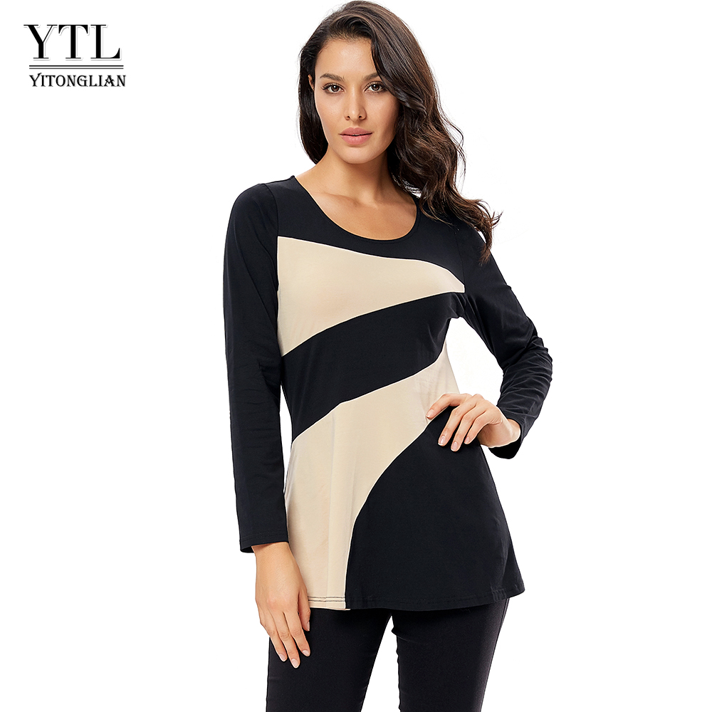 YTL Women Casual Tops 2019 New Fashion Long Sleeve Round Neck Colorblocked Patchwork T-Shirt Cotton Tunic Tops H307