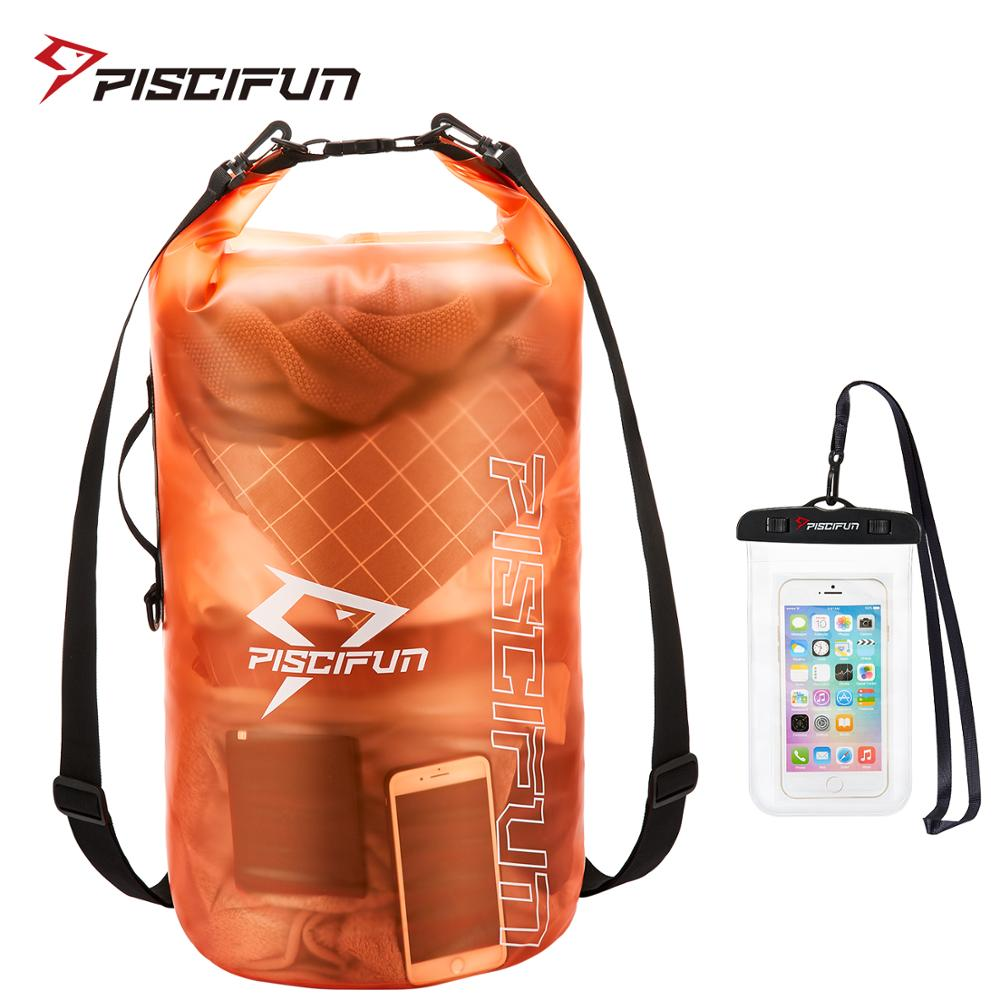 Piscifun 2L/5L/10L/20L/30L/40L Waterproof Lightweight Dry Bag Backpack + Phone Case For Fishing Swimming Boating Surfing Rafting