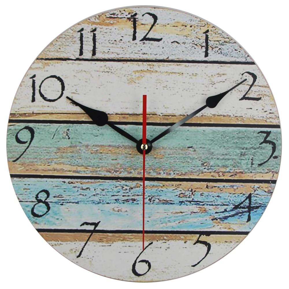 Wooden Wall Clock Modern Design Ocean Wall Clock Old Paint Board Printed  Image Mediterranean Style Arabic Numerals Wall Clock