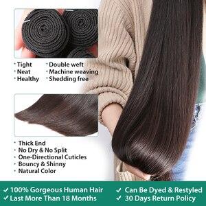Image 3 - RosaBeauty 28 30 32 40 Inch اللون الطبيعي ضفيرة شعر برازيلي 1 3 4 حزم مستقيم 100% ريمي شعر مستعار بشري لحمة صفقات