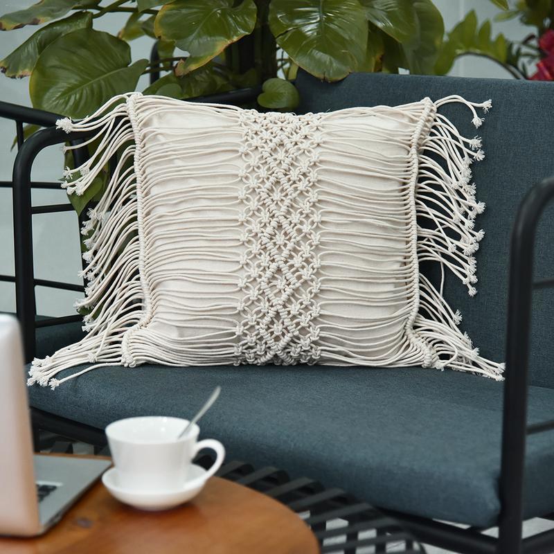 Hand-Woven Bedside Cushion Pillow Bohemian Style Solid Linen Belt Tassel Pillow Family Car Living Room Pillow