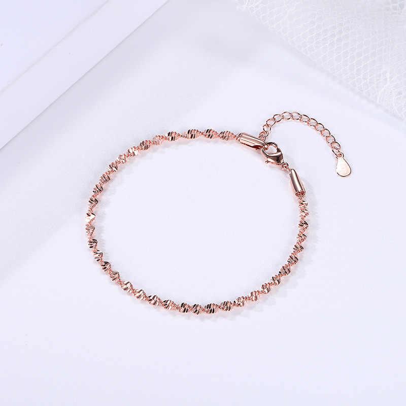 כפול הוגן חלק מעודן טרנדי גל תבואה מעוות צמיד לנשים רוז & לבן זהב צבע תכשיטים מתנה KBH064