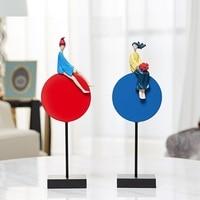 2Pcs/set Simple Modern Creative Original Red and Blue Rhapsody Figure Art Sculpture Statue Resin Crafts Home Decoration R4155