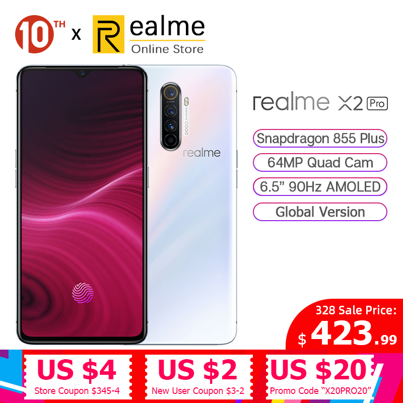 In Stock Global Version Realme X2 Pro Snapdragon 855 Plus Mobile Phone 8GB 128GB 6.5'' 64MP Quad Cam 90Hz Display NFC 50W VOOC