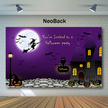 NeoBack Halloween Backdrop Witch Pumpkin Lamp Photo Background Black Cat Kids Children Night Party Photography Backdrops