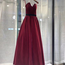 Long Cheapest Burgundy Prom Dresses With Black Belt Simple A-line Vestido De Formatura Full Length Gowns Hot Sale