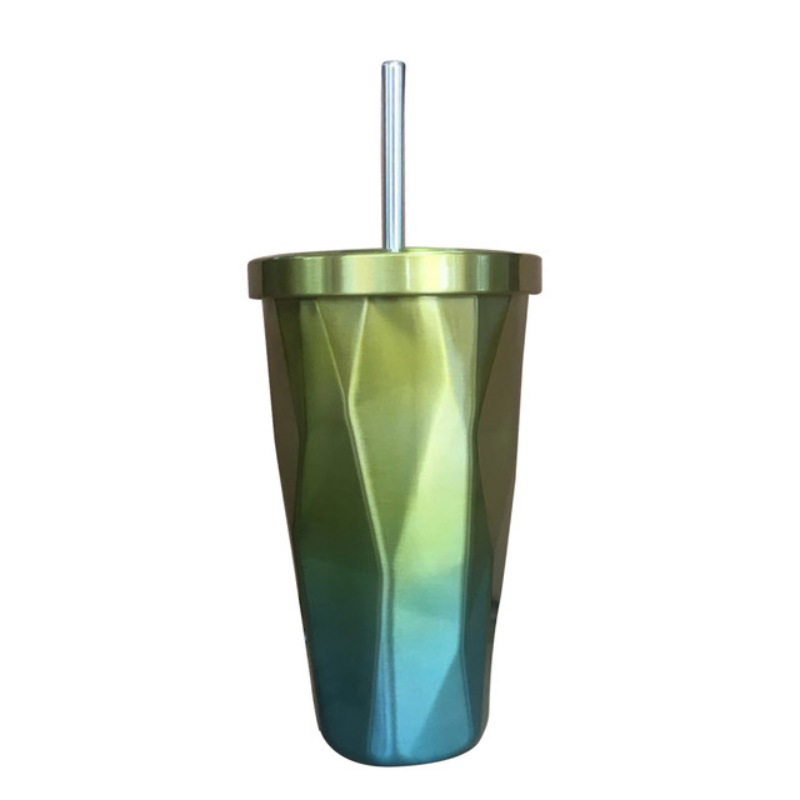 Colorful Stainless Steel Drinking Cup with Lid and Straw Tumbler Hot Cold Double Wall Vacuum Insulation Coffee Mug Water Flask - 6