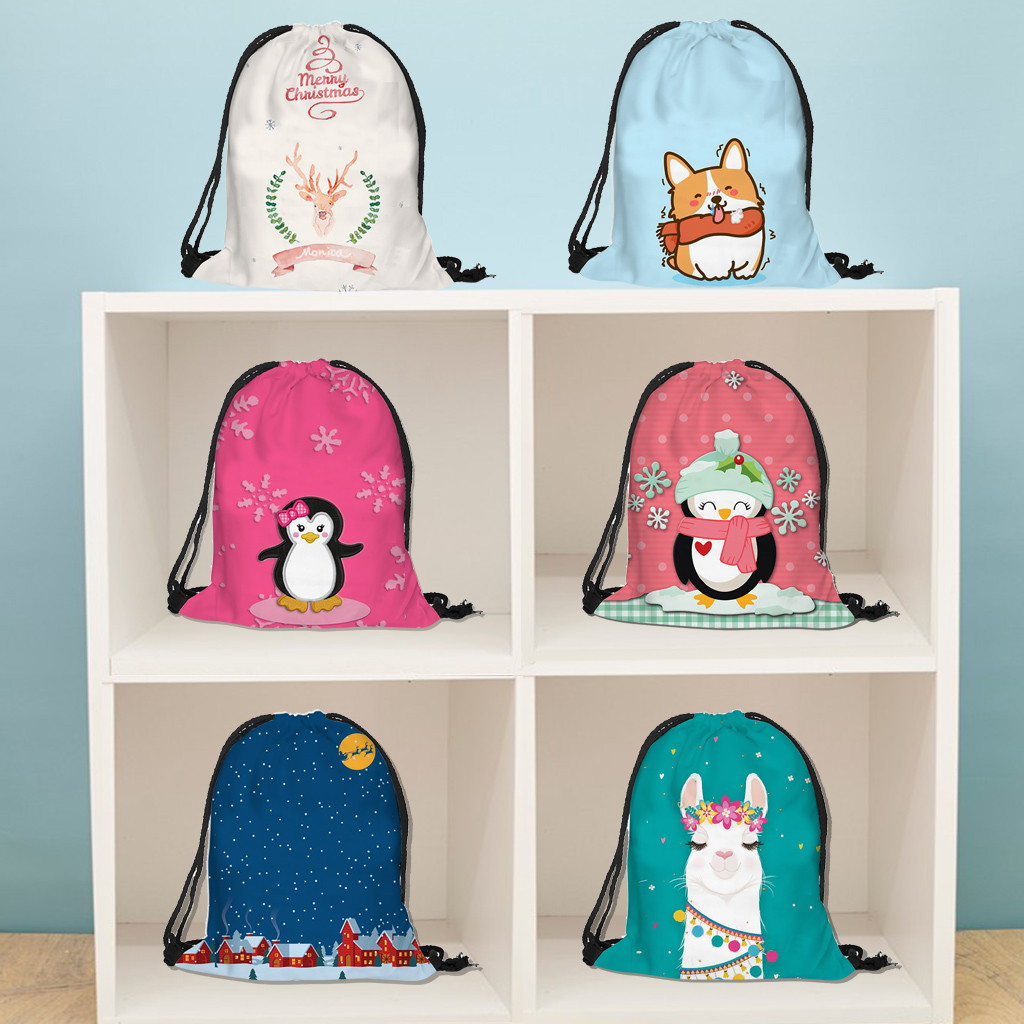 Christmas Gift Bag Casual Drawstring Bag Flower Printed Backpack Storage Bag Cotton Backpack Drawstring Bag Girls Storage Bag