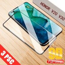 3Pcs Full Cover Tempered Glass For huawei honor V20 V30 Screen Protector For honor V30 Pro 9D Protective Glass Film 2 in 1 full cover 9d tempered glass for huawei honor v30 v30 pro v20 screen protector