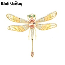 Женская брошь в форме стрекозы Wuli & baby, большая эмалированная брошь в форме насекомого цвета Красного шампанского, свадебная Банкетная брошь, Подарочная брошь