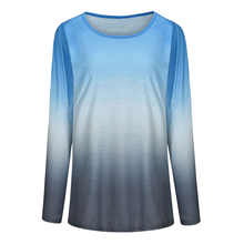 Gradient Color Shirts Women Long Sleeve T-shirt Tops Autumn T Shirt Tee Pullover Casual Loose Fit