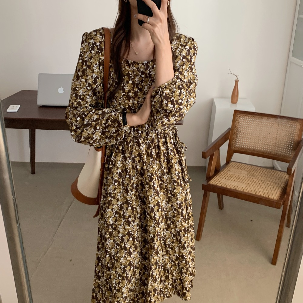 H6d97d73251004f8a88d9ed4ec922c66dt - Autumn Square Collar Lantern Sleeves Floral Print Midi Dress