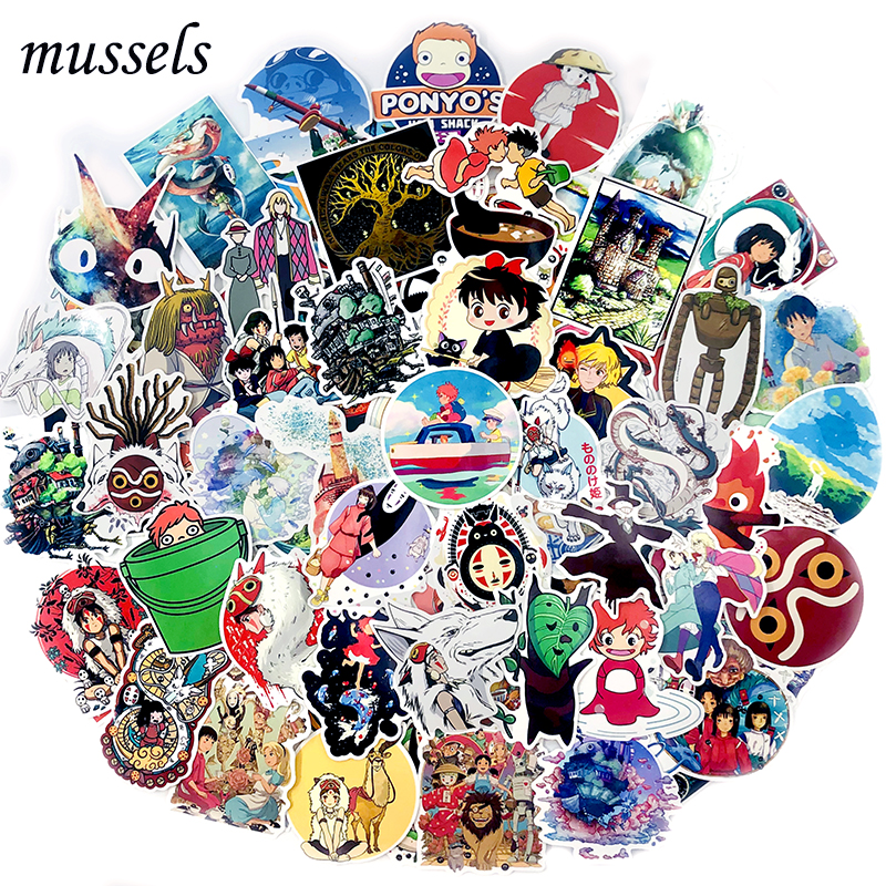 50-100Pcs Japanese Miyazaki Hayao Animated Film Sticker Scrapbooking For Toy Skateboard Guitar Car Decorative Luggage Suitcase