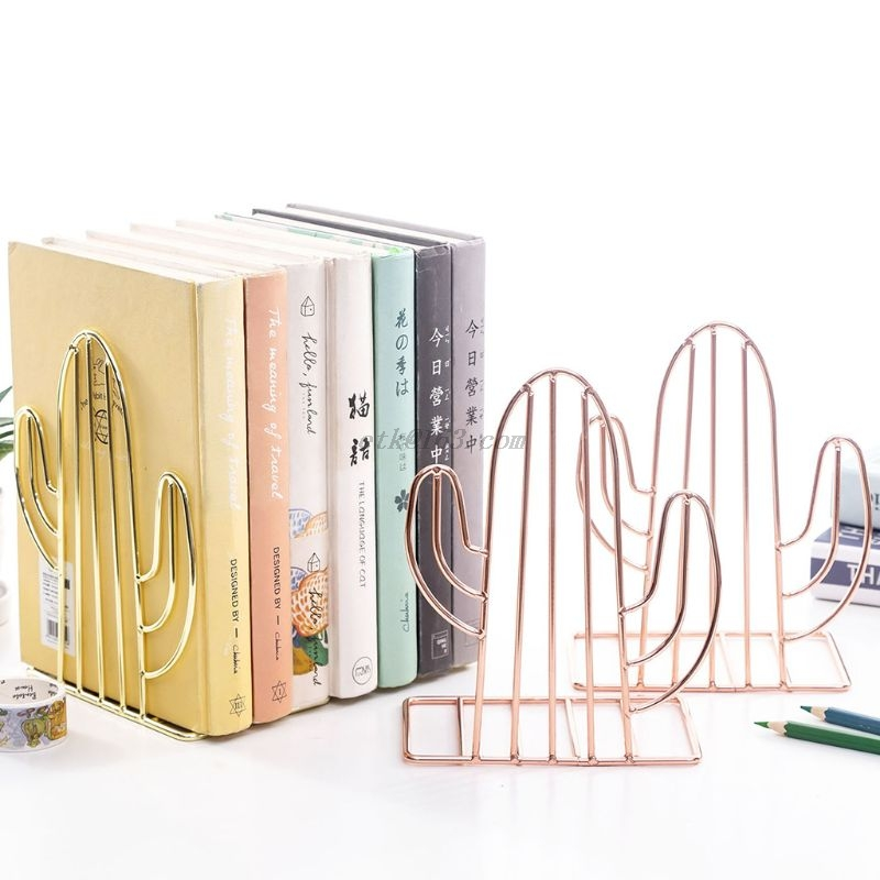 2PCS/Pair Creative Cactus Shaped Metal Bookends Book Support Stand Desk Organizer Storage Holder Shelf 3