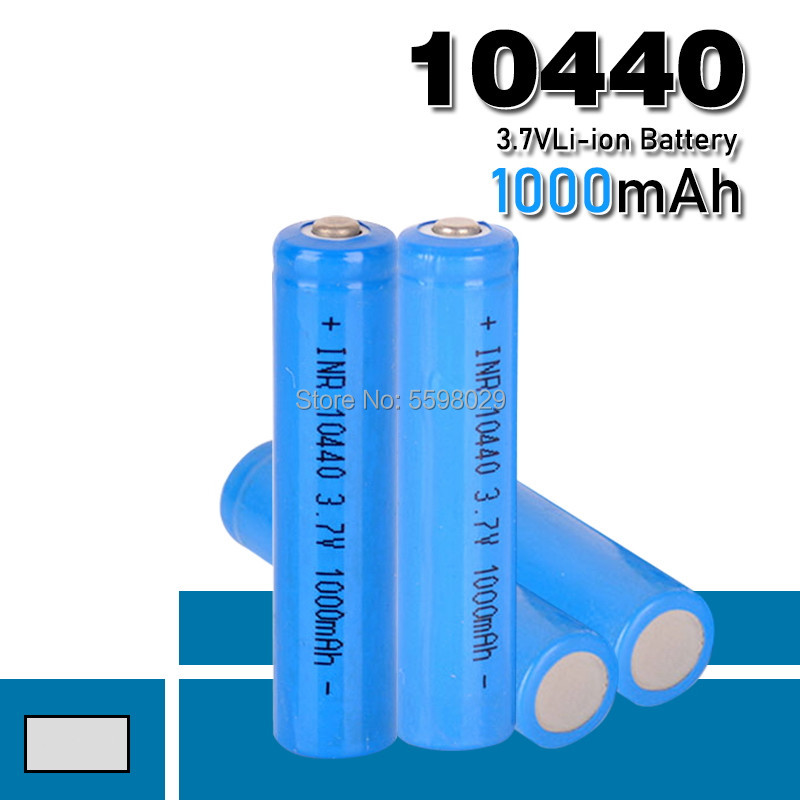 High quality 10440 Battery 1000mAh 3.7V Rechargeable Lithium Li-ion AAA Batteries Button Top image