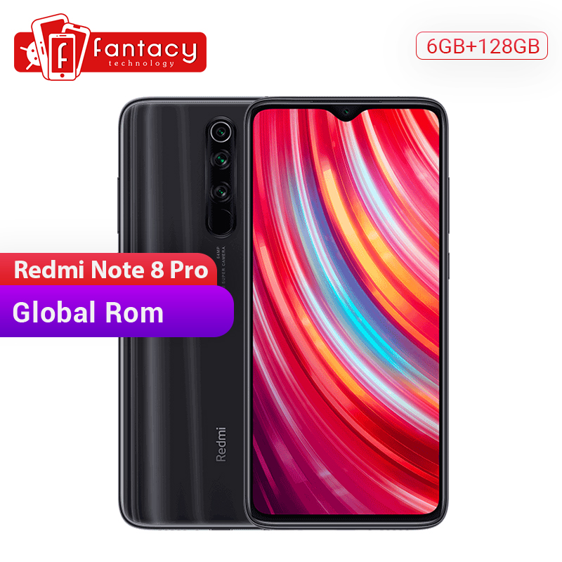 Global ROM Xiaomi Redmi Note 8 Pro 6GB 128GB Mobile Phone 64 MP Quad Camera 6.53'' FHD+ Screen 4500mAh 18W QC 3.0 UFS 2.1