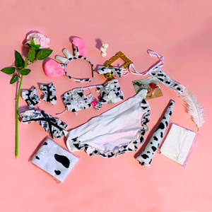 Image 5 - OJBK New Cos Cow Cosplay Costume Maid Tankini Bikini Swimsuit Anime Girls Swimwear Clothing Lolita Bra and Panty Set Stockings