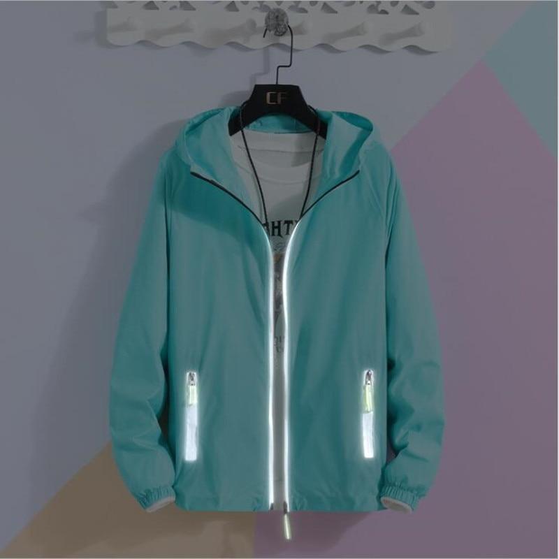 S-7XL Plus Size Jacket Women Summer Fashion New Long Sleeve Overcoat Zipper Pockets Casual Outwear Coat Reflect Light Jackets