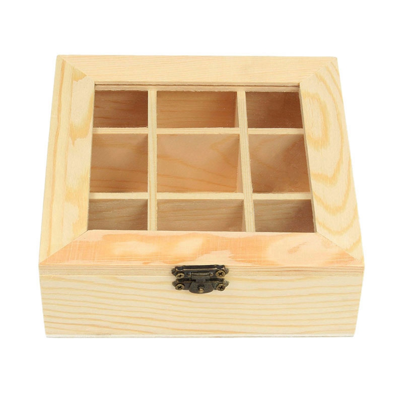 LBER Wooden Tea Bag Jewelry Organizer Chest Storage Box 9 Compartments Tea Box Organizer Wood Sugar Packet Container|Storage Boxes & Bins| |  - title=