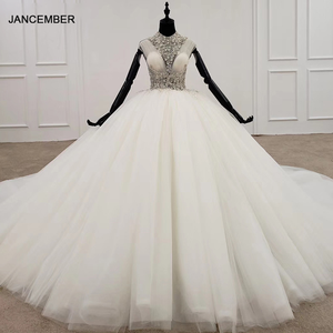 Image 1 - HTL1285 2020 crystal wedding dress women sleeveless beading high neck luxury white wedding dress bride gown new