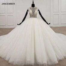 HTL1285 2020 kristall hochzeit kleid frauen ärmellose friesen high neck luxus weiß hochzeit kleid braut kleid neue