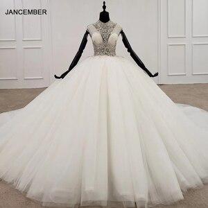 Image 1 - HTL1285 2020 kristall hochzeit kleid frauen ärmellose friesen high neck luxus weiß hochzeit kleid braut kleid neue