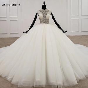 Image 1 - HTL1285 2020 クリスタルウェディングドレス女性ノースリーブビーズハイネック高級白ウェディングドレスの花嫁ドレス新