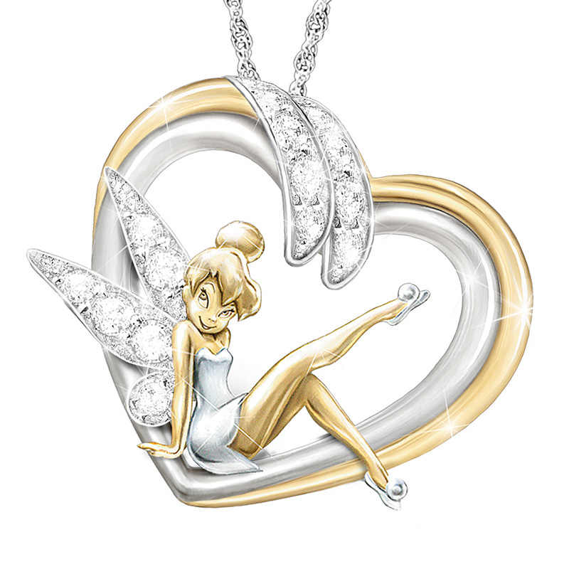 Fashion Angel Wings Love Heart Pendant Necklace Gold and Silver Two-tone Chain Necklaces for My Cute Daughter Women Boho Jewelry
