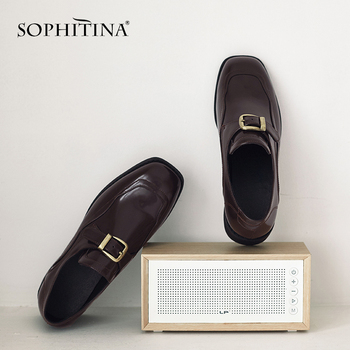 SOPHITINA Casual Flats Women Metal Decoration Slip-On Comfortable Solid Handmade Square Heel Shoes Fashion Loafers Flats PO507