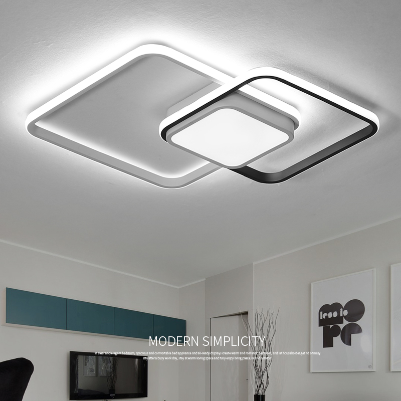 New listing Square Modern LED Ceiling Lights For Living Room Bedroom Study Home indoor Acrylic Black Modern Flush Ceiling Lights | White Ceiling Lights | New Listing Square Modern LED Ceiling Lights For Living Room Bedroom Study Home indoor Acrylic Black White Ceiling Lamp Fixture 001