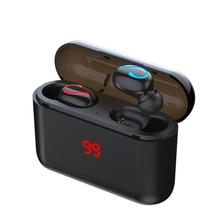 HBQ auriculares Q32 TWS, inalámbricos por Bluetooth 5,0, auriculares manos libres deportivos para música y videojuegos, cargador de batería