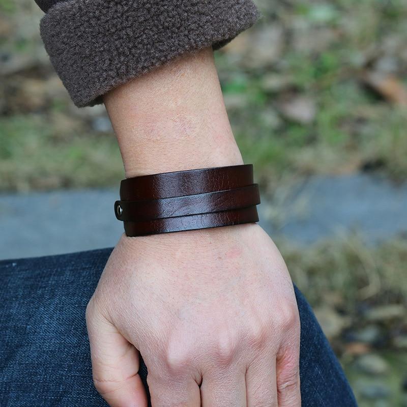 Black Brown Genuine Leather Men's Bracelet Vintage Punk Design Wrap Adjustable Belt Bangles Male Jewlery