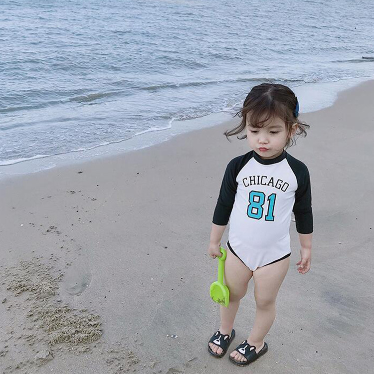 INS KID'S Swimwear GIRL'S One-piece Long Sleeve Sun-resistant Girls Small CHILDREN'S Cute Tour Bathing Suit CHILDREN'S Swimwear
