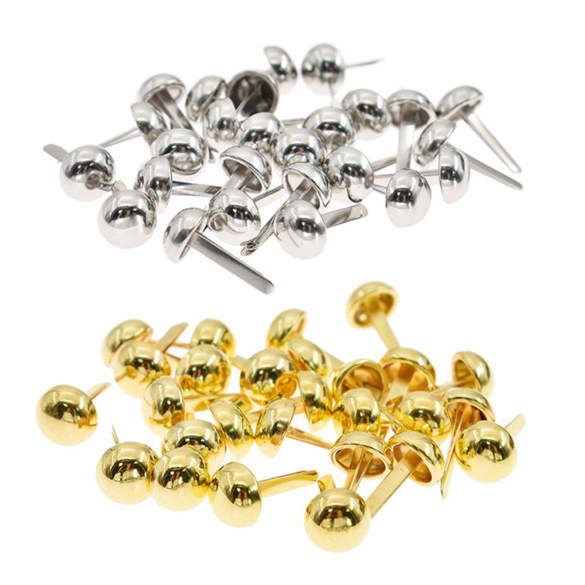 200PCs Rivets Spike Studs Spots Cone Silver Tone Round Scrapbooking Brads Punk Bag Clothes 8/10/12/15mm