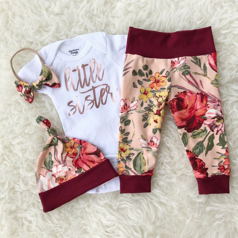 Newborn Baby Girls Little Sister Tops Romper Bodysuit Long Pants Outfits Clothes