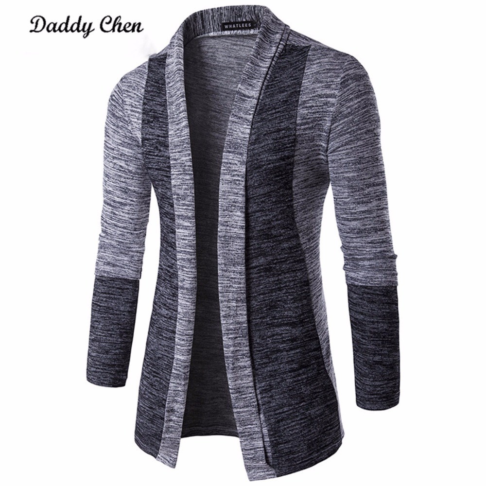 Casual Men Jacket Patchwork Long Sleeve 2019 Mens Fashion Men Trench Autumn Cotton Homme Fashion Gray Open Stitch Coat Outerwear
