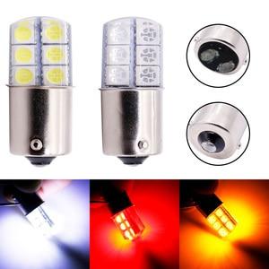 Image 1 - 1pc S25 1156 BA15S p21w 1157LED Weiß Lichter 5050 12SMD Silica gel DC12V Auto Hinten Schwanz Parkplatz Licht bremse lampe blinker Birne