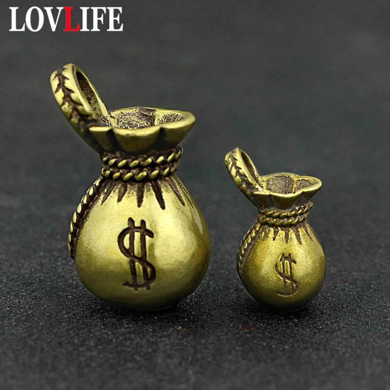 Ottone Sacchetto Dei Soldi Portachiavi Hanging Pendenti con gemme e perle Ciondolo In Metallo di Rame Puro Borsa Fortunato Portachiavi Pendenti e Ciondoli Ornamento Epoca Fatti A Mano Mestiere
