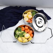 Behogar Штабелируемая скороварка из нержавеющей стали, пароварка, вставные сковороды с слингом для 5-6 квартов, аксессуары для кастрюль быстрого приготовления