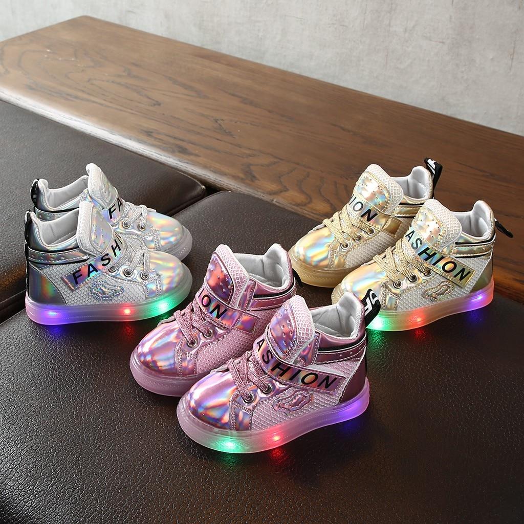 Kids Shoes Sneakers Short-Boots Bling Girls Sport Fashion Led Luminous Children -G1