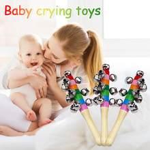 Sonajero de arcoíris de madera para bebé, palo de coctelera de arcoíris, juguete educativo con mango de campana de madera, anillo de Arco Iris para desarrollo auditivo