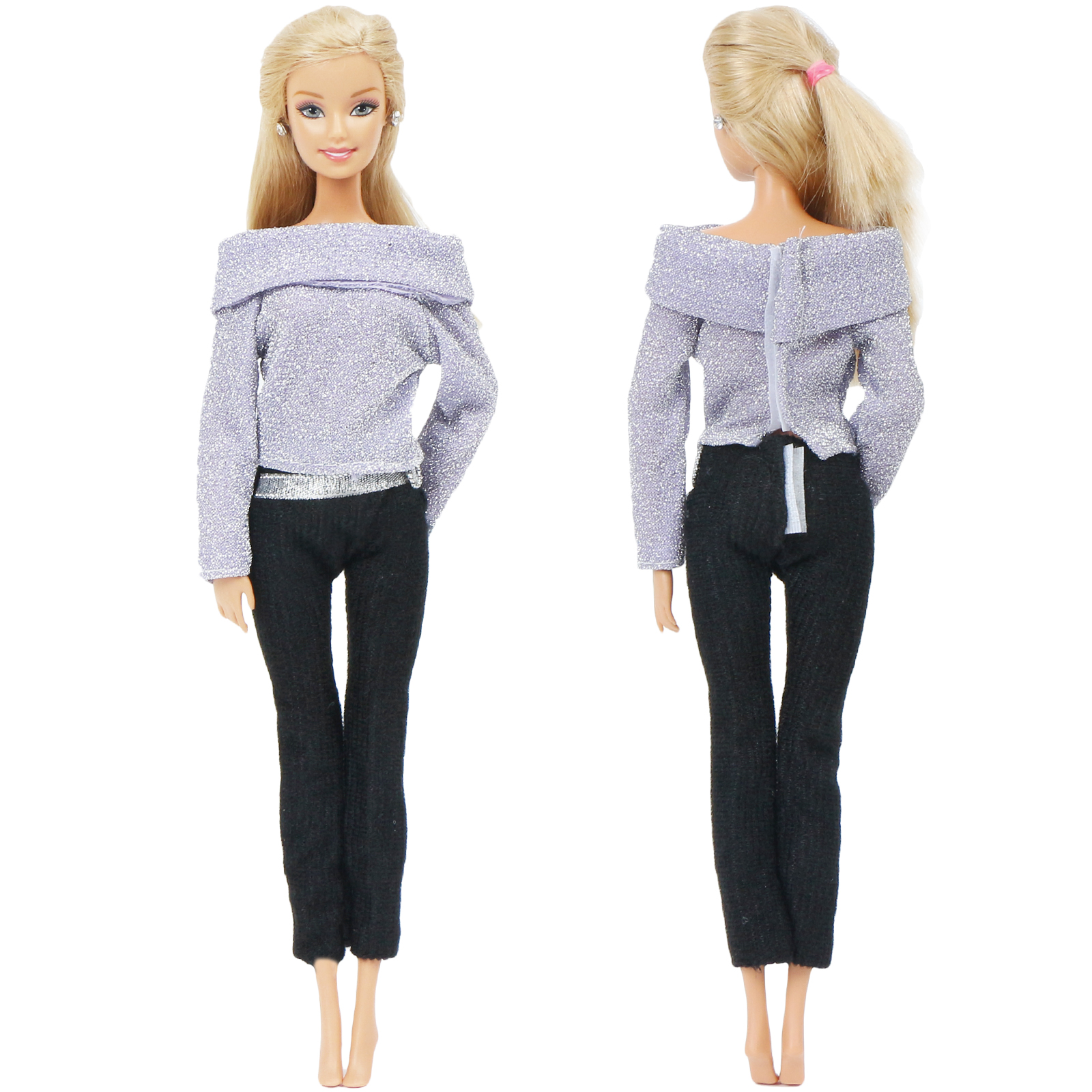 Handmade Fashion Doll Outfit Party Wear Blouse <font><b>Sexy</b></font> Tops + Black Warm Pants Trousers Belt Clothes for Barbie Doll Accessories image